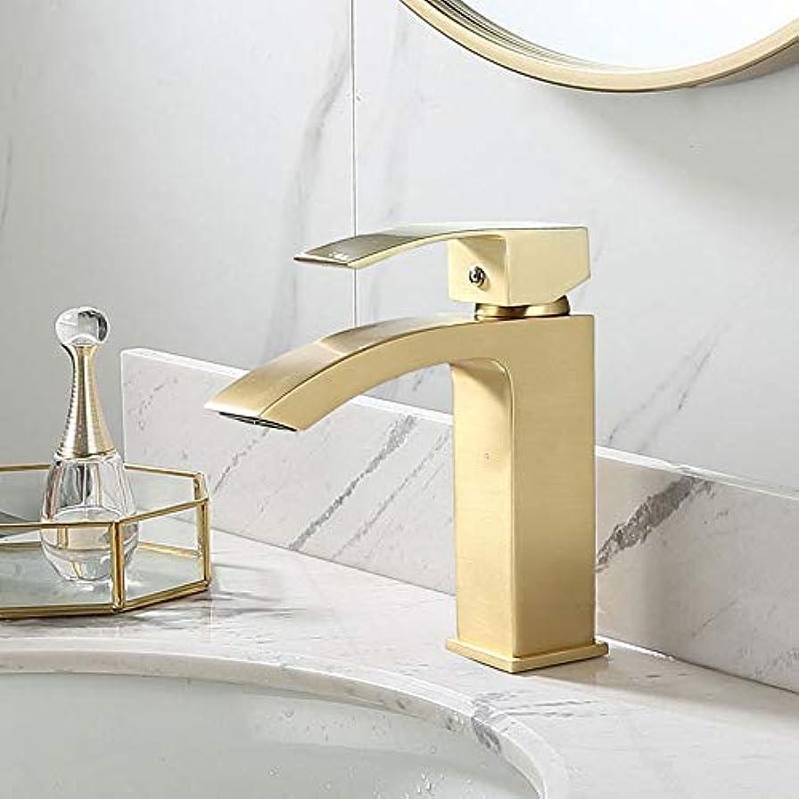 爵で記述する北欧のモダンなバスルームの蛇口/ブラッシュドゴールド銅/温水と冷水の蛇口の下にカウンター洗面台洗面台真鍮スプラッシュマット 作りがいい