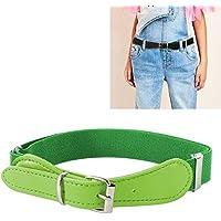 QGT Belt 2 PCS Kids Polyester + PU Leather Square Pin Buckle Adjustable Elastic Belt, Length:65cm(Black) (Color : Green)