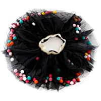 FENICAL Baby Girl Layered Pom Puff Balls Tutu Skirt Photography Tulle Dress with Pom Pom Balls -Size L (Black)