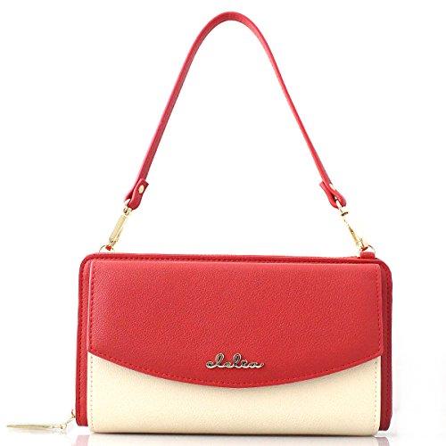 [クレリア] Clelia 長財布 レディース 大容量 バイカラー タッセル付き 3way 財布ショルダー 【CL-19272】 (キャンディローズ)