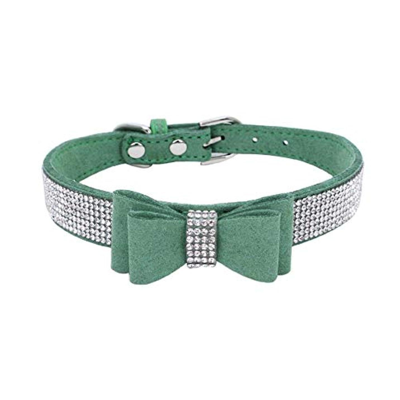 無傷誓約賢いXUTXCKA 小型犬の首輪調節可能なラインストーンペット蝶結び子犬犬首輪ペット