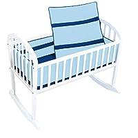 Baby Doll Bedding Solid Stripe Cradle Bedding Set Light Blue/Royal Blue [並行輸入品]