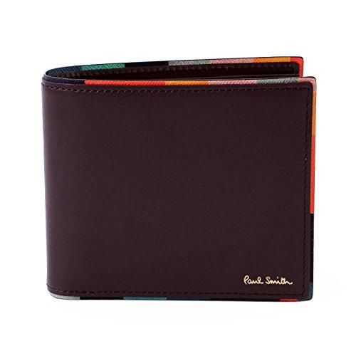 (ポールスミス) Paul Smith ストライプポイント レザー ウォレット 本革 二つ折り 財布 873181P514 ショップバッグ付 (名入れなし, バーガンディー)