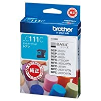 (まとめ) ブラザー BROTHER インクカートリッジ シアン LC111C 1個 〔×4セット〕