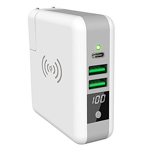 Qi モバイルバッテリー ワイヤレス充電器 急速 ACプラグ内...