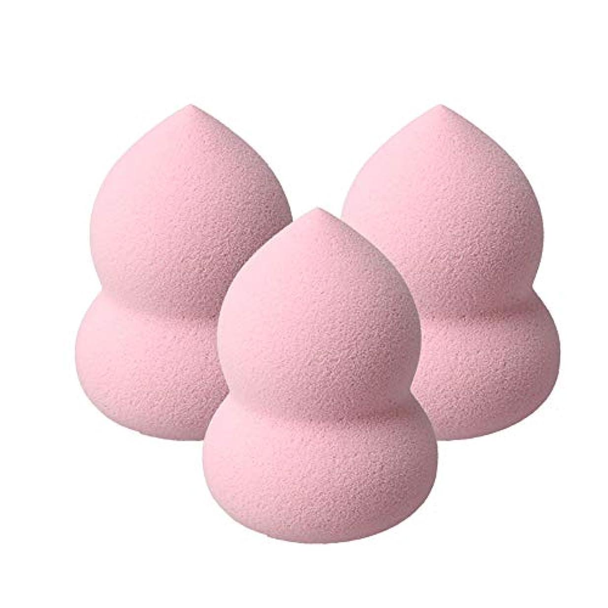 ツール喪ばかげているKaittyoffice 3個入 メイクスポンジ ひょうたん型 化粧パフ ファンデーション BBクリーム もちもち ピンク