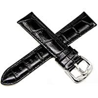 "Lucien Piccard 22MM Alligator Grain Genuine Leather Watch Strap 8"" Black Silver LP Initial Buckle"
