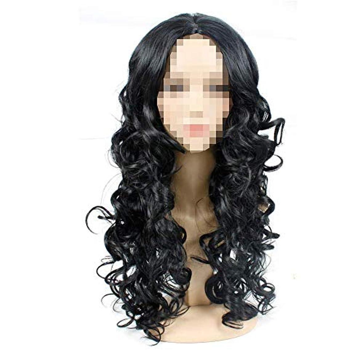 タイトル繕う人差し指ブラックカラーロングウェーブ人工毛ウィッグ女性用コスプレウィッグミディアムロングカーリーヘア耐性髪/ハロウィンパーティー