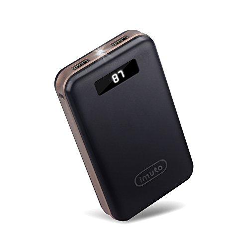 iMuto 20000mAh モバイルバッテリー 大容量 急速充電 2USB出力ポート スマートデジタルスクリーン LED ライト搭載 Nintendo Switch NS ゲーム機/iPhone X 10 8 7 6 Plus/iPad / Xperia/Galaxy Note8/各種スマホ/タブレット/ Wi-Fiルータ 等対応 ブラック