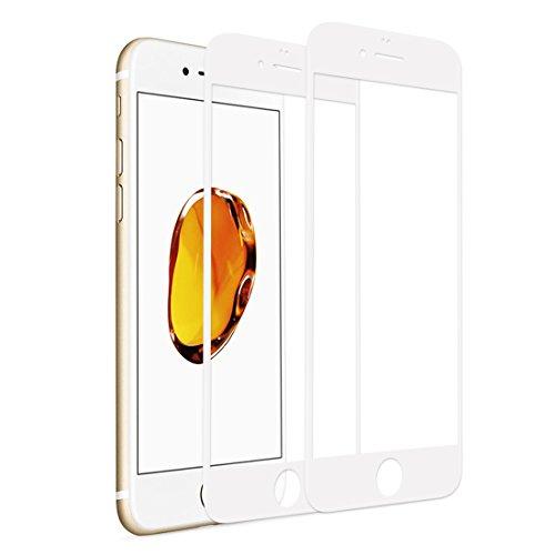 液晶保護フィルムiPhone6splus ガラスフィルム iPhone6splus フィルム 全面フルカバー 炭素繊維 ホワイト3D曲面 高鮮明 高硬度9H 0.2mm超薄型耐衝撃 飛散防止 防爆裂スクラッチ防止 保護シート 専用ガラス アイフォン6splus アイフォン6plus 強化ガラスフィルム【2枚セット】(iPhone6plus/6splus, ホワイト)