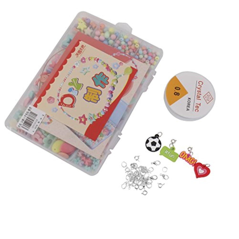 【ノーブランド品】子供 おもちゃ 玩具 手作り用 知育 アクセサリ DIY キット カラフル アクリルビーズ