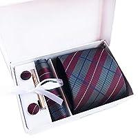 Xiang Ru ネクタイ チェック ビジネス フォーマル カジュアル オシャレ 父の日 プレゼント ギフト 結婚式 就活 誕生日 ストライプ ポケットチーフ タイピン カフスボタン 4点セット 全18種類 タイプA