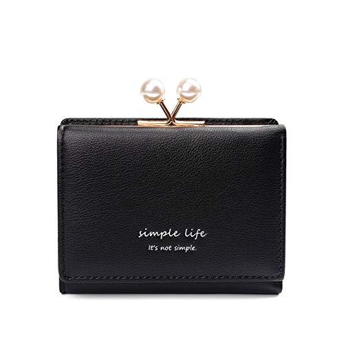 e4930ac55c80 Yisin 三つ折り財布 レディース がま口 ミニ財布 カード小銭入れ パール ブラック