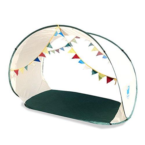 【 ガーランド付き 】 屋根つきプールに変身 ワンタッチサンシェード 簡単設営 軽量 テント UVカット 開放型 大きい 200cm×100cm キャリーバッグ付き (ベージュ)