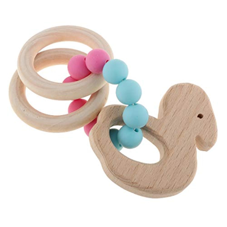Fenteer 赤ちゃん 子供 木製 歯がため リング ベビー 天然木 おもちゃ 全5種類 - 白鳥