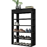Soges ラック 靴棚 シェルフ オープンシューズボックス シューズラック 木製 可動棚 天板開閉式収納スペース 通気口 組み立て式 収納可能 L24ブラック