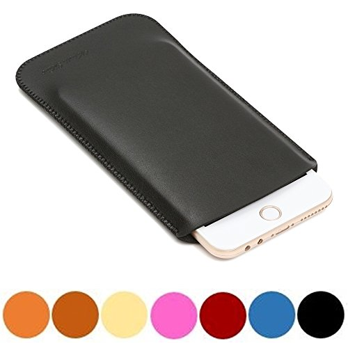 V.M 5.5 スマホケース スリップイン レザー 5.5インチ スマホカバー スリーブ ポーチ 高品質 皮 携帯ケース 薄 軽 スリップインケース 革 携帯カバー ブリーフケース インナーケース スリーブケース ソフトケース マット ブラック iPhoneケース7 Plus 黒 艶消