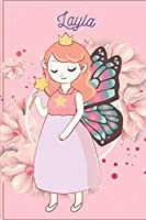 Layla: Fairy Princess - Personalized Blank Lined Journal Notebook Gift For Girls, Women