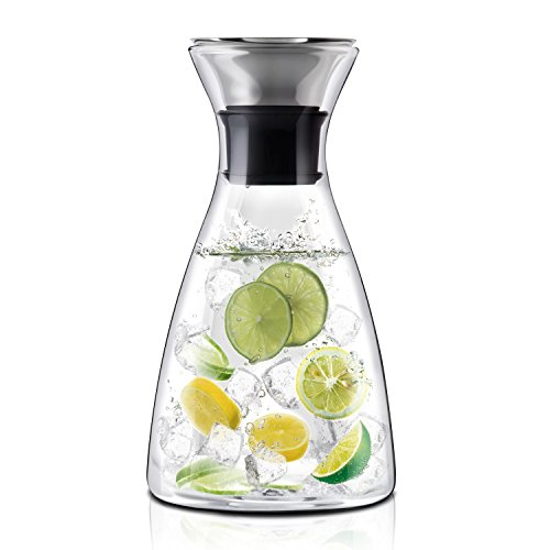 E-PRANCE 冷水筒 冷蔵庫ポット 麦茶ポット 耐熱 ガラスポット ステンレス蓋 1L
