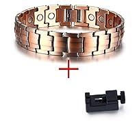 ファッションマンスレッド銅磁気ブレスレット メンズ マグネット バイオエレメント エネルギーバングル