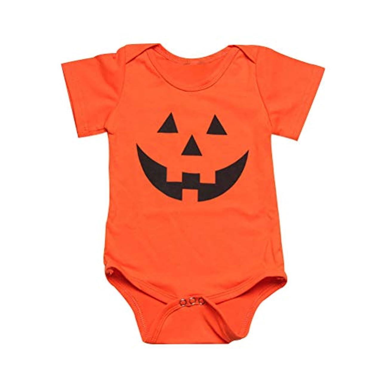 夏 子供 ハロウィン かぼちゃ プリント オレンジ 半袖 ロンパス カバーオール 乳幼児服 肌着
