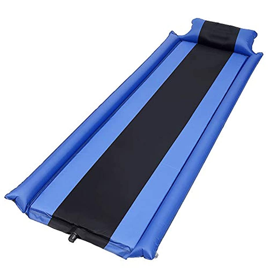 教振動させる魅了するキャンプ用マットレスとインフレータブルロールマット - インフレータブルスリーピングマット - コンパクトで防湿性 - ハイキング、ハンモック、テントに最適 (青と黒のストライプ)