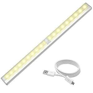 AMIR LED センサーライト 人感センサーライト 20個LED電球 USB充電 3Mテープ 貼り付け式 高輝度 超薄型 マグネット付き 自動点灯 消灯 階段 クロゼット 玄関に最適 (電球色(20個LED電球))