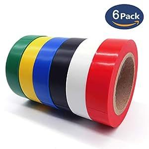 ビニールテープ,HoryKu(ホーリク) 6卷6色入電気絶縁テープ ハーネステープ 耐熱 テープ