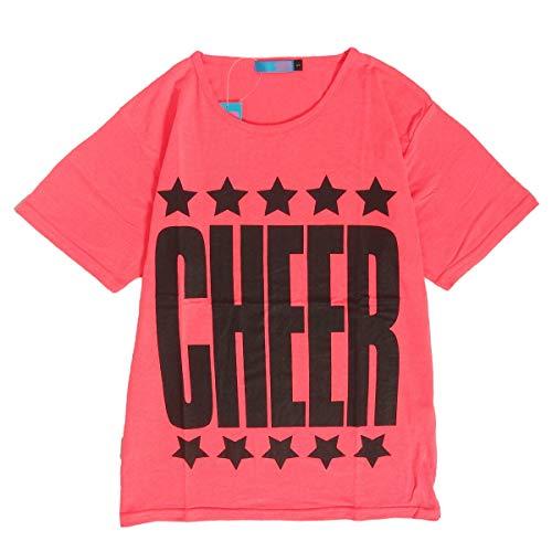 b8a894b6d8f0a  CHEER (チアー)  Tシャツ 半袖 ビッグロゴ ネオンカラー トップス ダンス 衣装 フィットネス