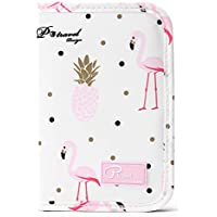 Family Passport Holder Document Organizer, Waterproof Flamingo Print Travel Wallet Purse with Zip Closure Ticket Credit ID Card Cash Pouch Holiday Money Bag for Men Women by ManKn