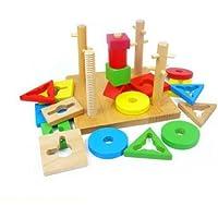Shape Matching Wood Blocks for Kids Educational Toys, 20 PCS