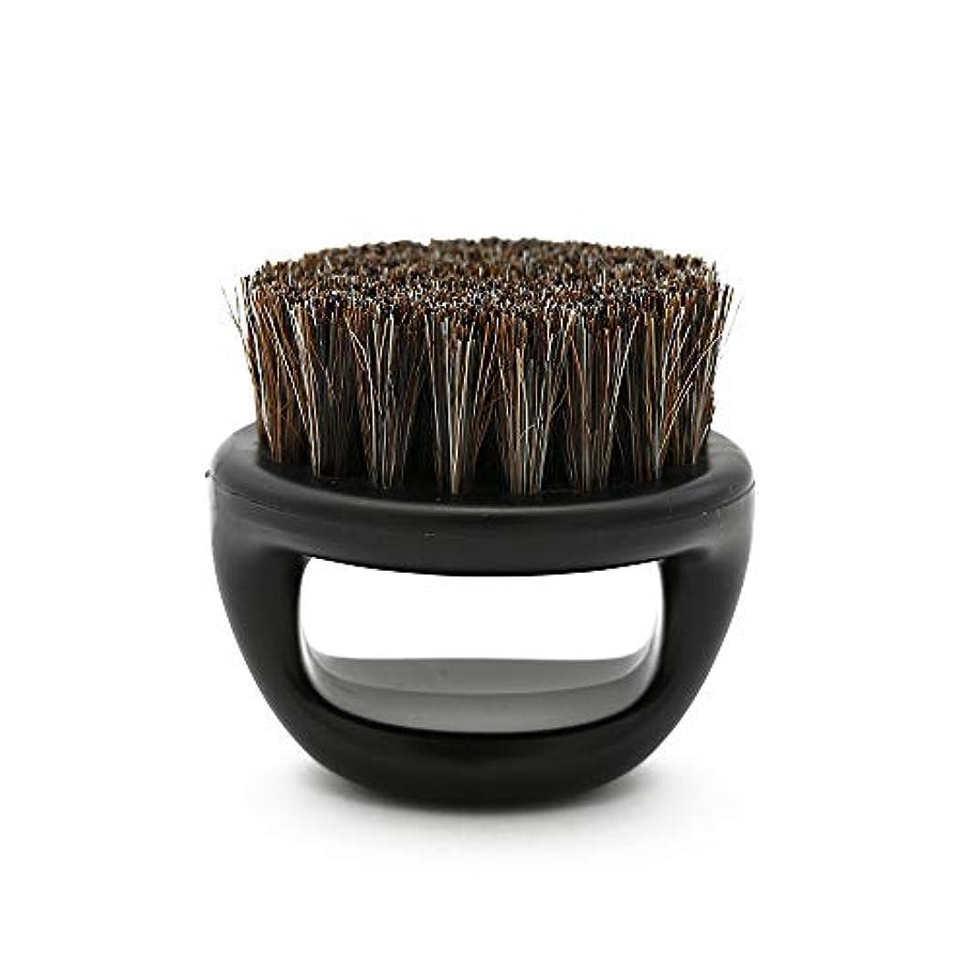 汚染する腐敗天Naliovker 1個リングデザイン馬毛メンズシェービングブラシプラスチック製の可搬式理容ひげブラシサロンフェイスクリーニングかみそりブラシ(ブラック)