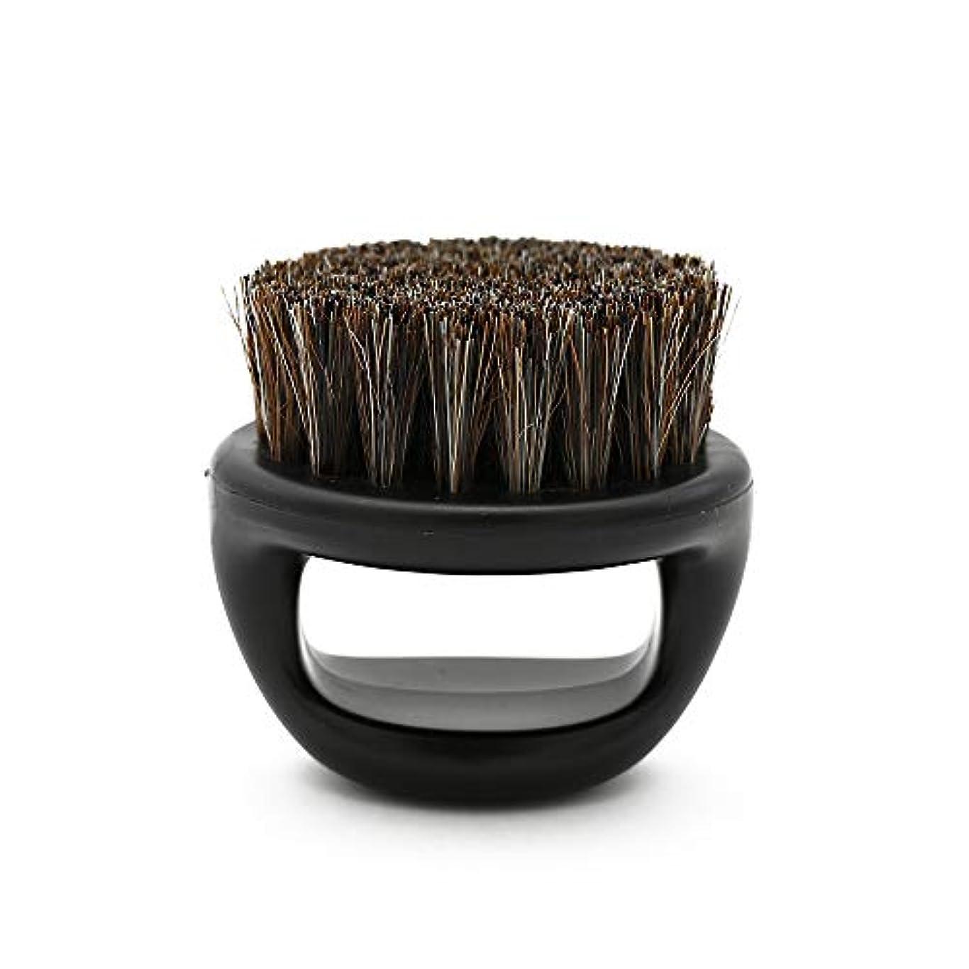 外出市町村無一文CUHAWUDBA 1個リングデザイン馬毛メンズシェービングブラシプラスチック製の可搬式理容ひげブラシサロンフェイスクリーニングかみそりブラシ(ブラック)