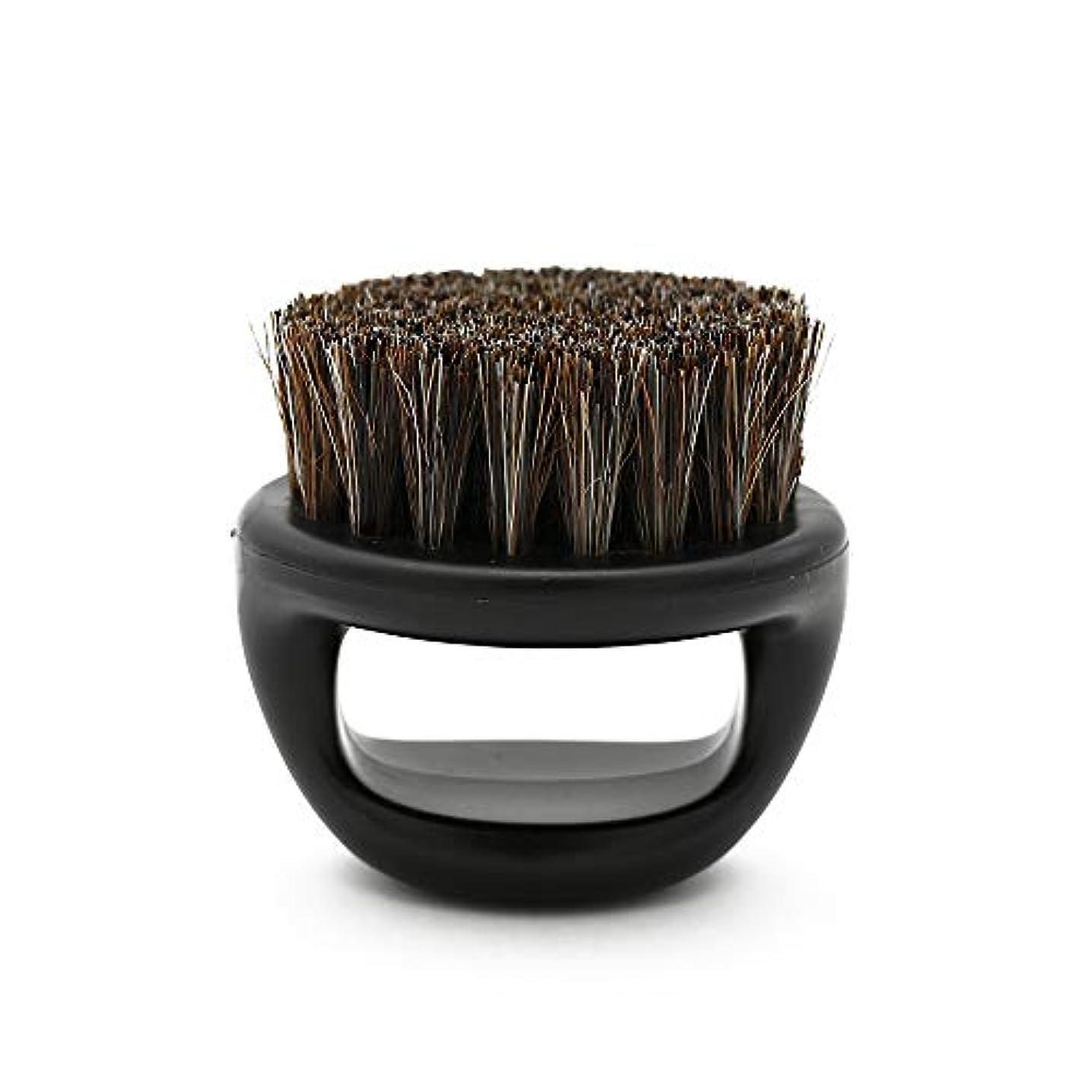 ようこそ食欲グローブCUHAWUDBA 1個リングデザイン馬毛メンズシェービングブラシプラスチック製の可搬式理容ひげブラシサロンフェイスクリーニングかみそりブラシ(ブラック)