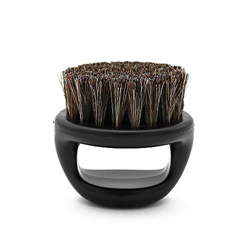 光沢慢な委員会CUHAWUDBA 1個リングデザイン馬毛メンズシェービングブラシプラスチック製の可搬式理容ひげブラシサロンフェイスクリーニングかみそりブラシ(ブラック)