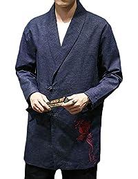 gawaga メンズファッション中国スタイル刺繍ロングスリーブスーツジャケットアウト