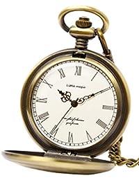 【little magic 懐中時計 (日本製ムーブメント)】GW [ 極限までシンプルデザイン]アンティーク [ 光沢 文字盤 ] [ クリア仕上げ ] [ 立体文字盤 ] [ 高耐久性 ]ナースウォッチ 時計 チェーン メンズ レディース (2種 チェーン+革ひも付き)(アンティークゴールド白文字盤)