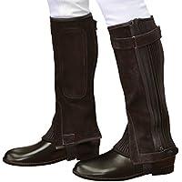 乗馬用ハーフチャップス 茶色ブラウン 本革スエード レザー本皮 ふくらはぎ伸縮 Klaus KBR