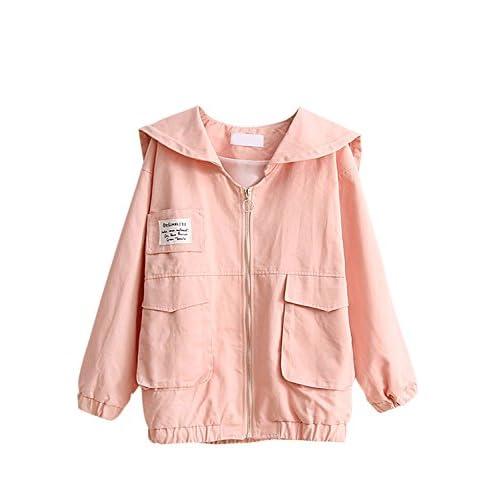 (アチックガール)Achicgirl レディース 刺繍 ポケット付き ゆったり 長袖 着回し 春秋冬 セーラー襟 可愛い ファスナー コート ジャケット