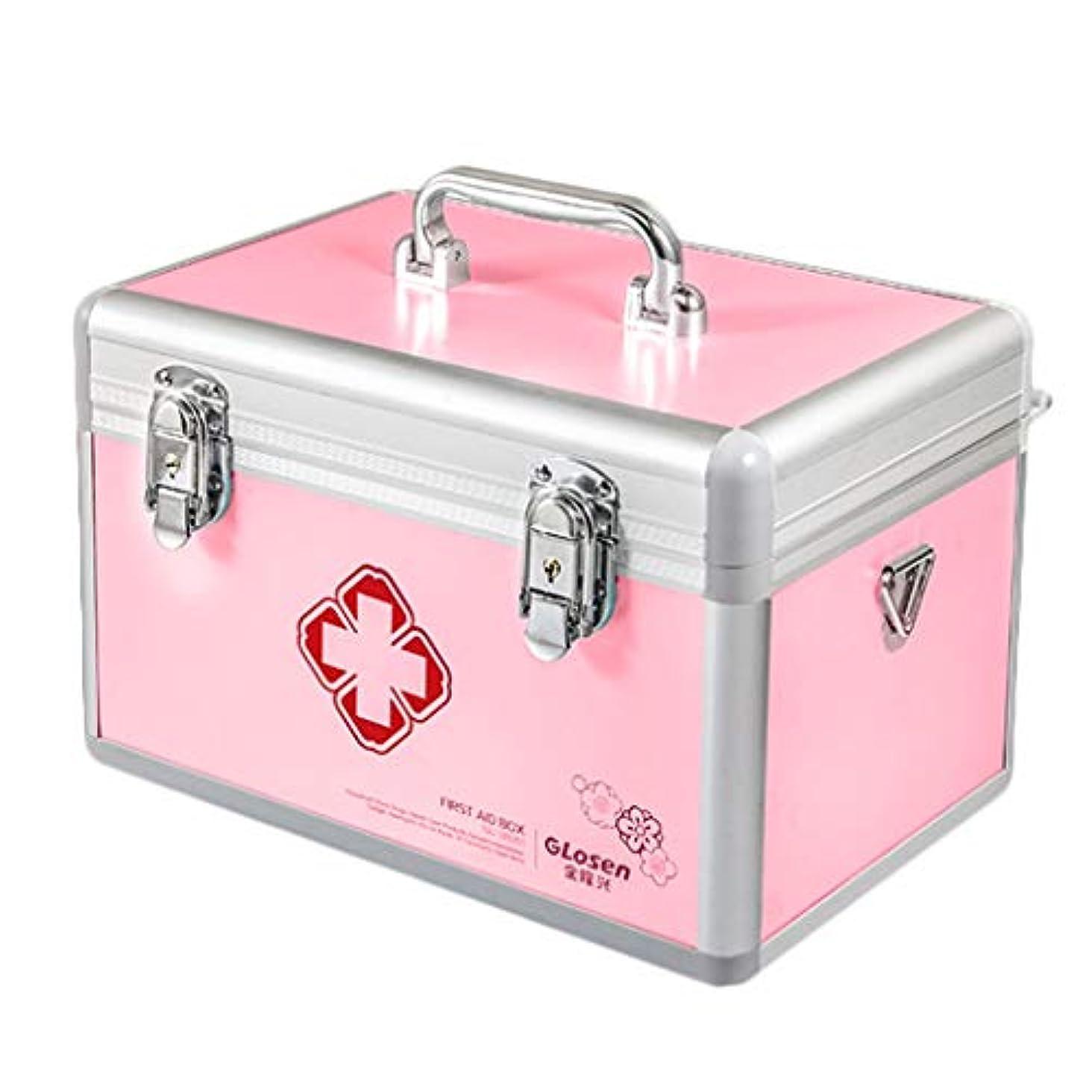 宮殿羊の服を着た狼ホラーGLJJQMY ピルボックス薬外来救急医療箱収納ボックスアルミ家庭用薬箱35.5×20×22センチ 薬収納ボックス (Color : Pink)