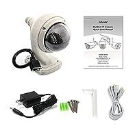 360度ロータリーモニターカメラ屋外HD 720 PワイヤレスWifi IPドームカメラCCTVセキュリティ監視サポートナイトビジョン - シルバーホワイト