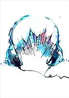 ポスター ウォールステッカー シール式ステッカー 飾り 420×594㎜ A2 写真 フォト 壁 インテリア おしゃれ 剥がせる wall sticker poster pa2wsxxxxx-014180-ds ヘッドホン 音楽 風景