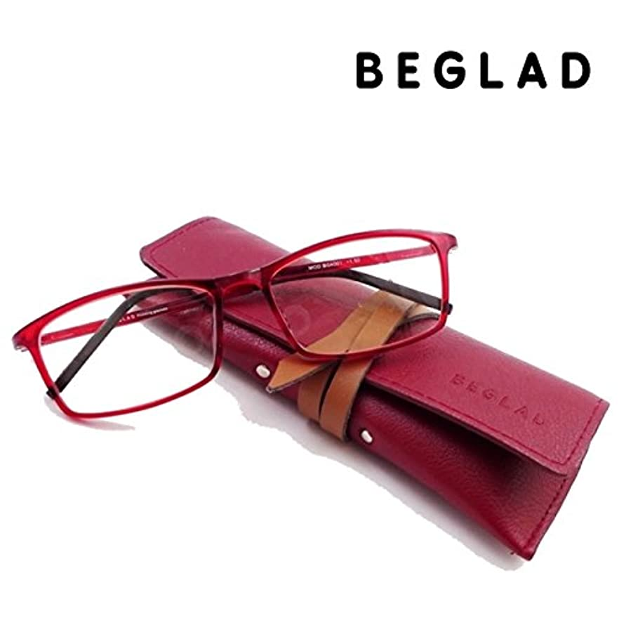 BEGLAD(ビグラッド)おしゃれなケース付老眼鏡 BG4001RD スタイリッシュなスクエア型 超軽量フレーム ブルーライトカット対応レンズ