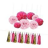 FLAMEER 紙花 ティッシュペーパーポンポン フラワーボール タッセルバナー パーティー 飾り付けセット ピンク