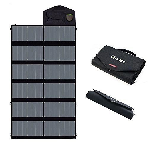 ソーラーチャージャー Giaride 18V 80W ソーラー充電器デュアル5V USB + 18V DC出力Sunpowerソーラーパネル 12V車用バッテリー ノートパソコン タブレット iPhone ギャラクシー iPad キャンプ ハイキング用屋外ポータブル充電器