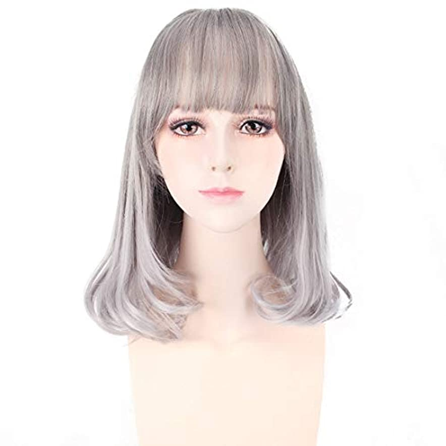 冗長韓国語メジャーYOUQIU 女子チー前髪ショートヘアウェーブ頭ふわふわのリアルなガールウィッグウィッグ用ショートヘア (色 : Silver gray)