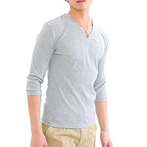 (スペイド) SPADE Tシャツ メンズ 無地 七分袖 半袖 カットソー Vネック【q424】 (XL, ライトグレー)