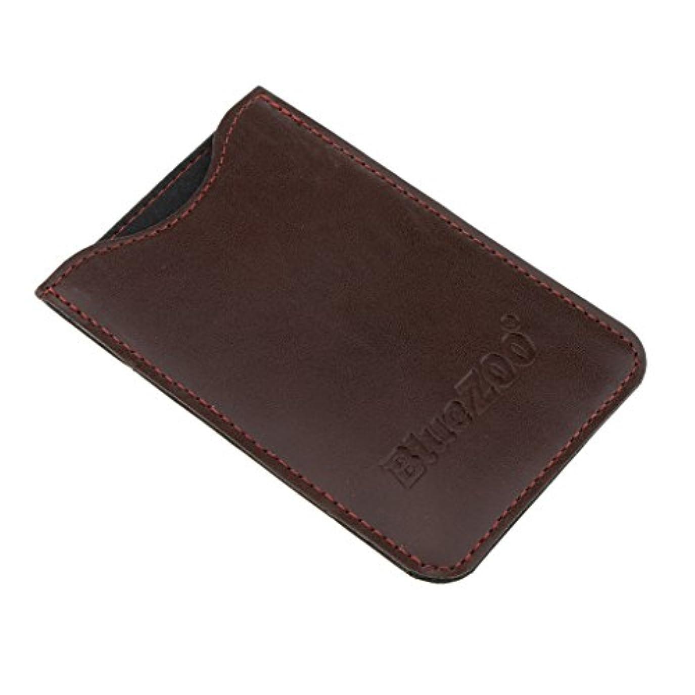 どこでもテープ申し立てられたPUレザー バッグ 収納ケース 保護カバー 櫛/名刺/IDカード/銀行カード 収納パック 便利 全2色 - 褐色