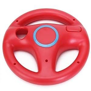 Wii用 レーシングス マリオカート ハンドル ステアリングホイール レーシングホイール 面白い いろいろな色 (レッド)