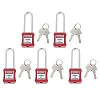 H HILABEE 安全パドロック パドロック キー付き ステンレス南京錠 書き可能 滑り止め ラベル付き 5枚セット
